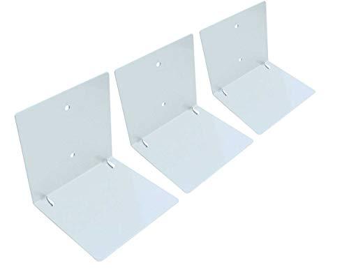 Luxflair Schwebende Bücher 3er Set: unsichtbares Schweberegal für Bücher, originelle Bücherstütze mit bis zu 10kg Tragkraft, stabiles Regal zur Wandbefestigung