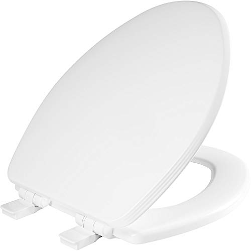 BEMIS 1600E4 000 Ashland Toilet Seat with Slow Close, Never Loosens and Provide the Perfect Fit, ELONGATED, Enameled Wood, White