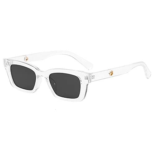 JINZUN Gafas de Sol de Moda Gafas de Sol Retro de Montura pequeña Anti-UV Sombrilla Espejo Unisex Hoja Gris Transparente