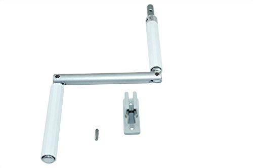 SN-TEC Kurbel/Kurbelstange/Gelenkkurbel für Rolladen und Oberlichter Fenster weiß incl. Kurbelhalter
