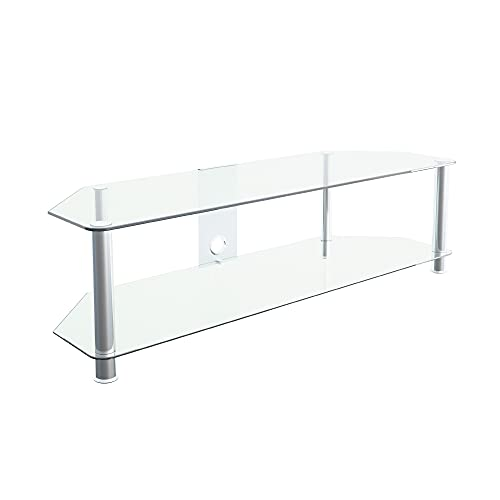 """mahara Glass TV Stand for HD LED LCD 4K 8K QLED TVs up to 65"""" inch by TV Furniture Direct (140cm, Clear Glass, Chrome Leg)"""
