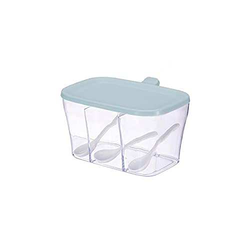 Spice Box Transparante keuken Spice Jars,met lepels,kleur:roze,blauw Maat:13.4cm*17.7cm*10cm,1 stuks Kruiden potten…