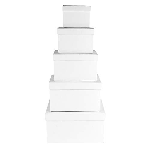 Ideen mit Herz Geschenkboxen mit Deckel | Pappboxen | 5er Set | 5 verschiedene Größen ineinander, groß bis klein | aus stabilem Karton | ideal für Geburtstag & Hochzeit | rechteckig 8 bis 18cm