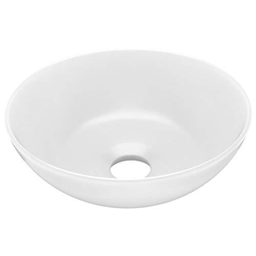 vidaXL Lavandino da Bagno Lavello per Bagno Lavabo per Toilette Sanitari Prodotti per Bagno Vaschetta in Ceramica Bianco Opaco Rotondo