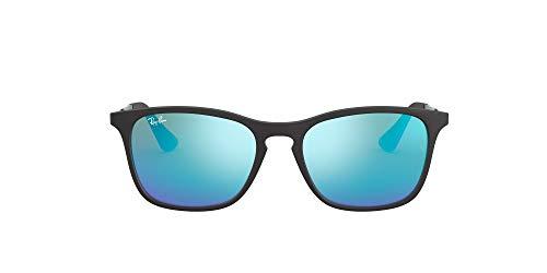 Ray-Ban Junior Unisex-Child RJ9061SF Asian Fit Sunglasses, Rubber Black/Light Green Mirror Blue, 52 mm