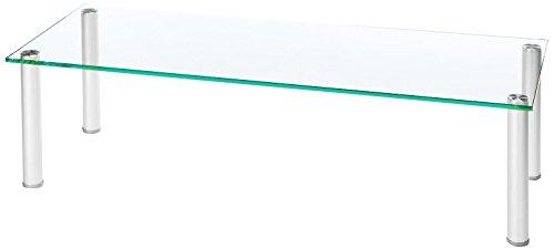 VCM TV Fernseh Aufsatz Ständer Monitor Bildschirm LCD LED Universal Rack Tisch 30x105x42cm Silber/Klarglas