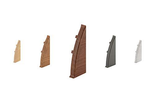 LEMAL Endkappen rechts, PVC 60x26mm - Zubehör für Sockelleisten mit Kabelkanal - (0109 Holzoptik grau-braun, 1 Stück) Abschluss Leisten Teppichboden