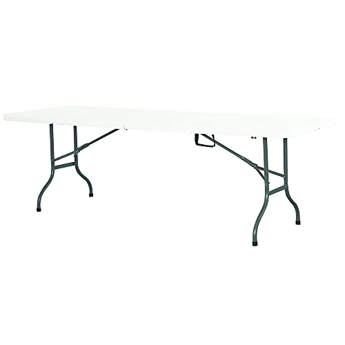 IKAYAAA Panca da giardino pieghevole tavolo da picnic Premium 244 cm bianco