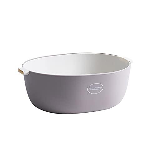 KFGF Fregadero de cocina y arroz para el hogar creativo de doble capa de lavado de verduras cesta de drenaje cesta de plástico de frutas U gris claro