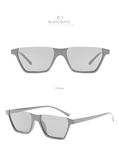 Gafas de Sol Gafas De Sol De Plástico con Recorte De Medio Marco, Gafas De Sol Cuadradas De Moda para Hombres Y Mujeres, Montura De Ojo Rectangular De Moda con Personalidad Retro C1