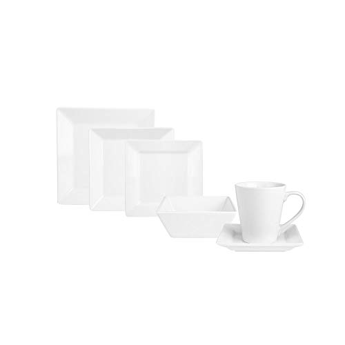 KARACA Serie Denisa 36 TLG. Weiß Porzellan Geschirrset Kombiservice Tafelservice mit 6 Suppenteller, 6 Speiseteller, 6 Servierteller, 6 Dessertteller, 6 Tasse, 6 Untertasse