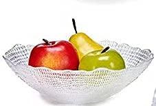 Pack de 2 Bol de cristal de 25cm . frutera de cristal fuerte redondo - plata para ensalada de cristal