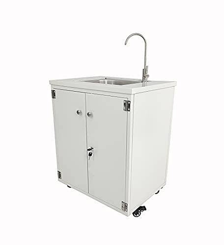 """Steel Cabinet Portable Sink Self Contained Hand Wash Station Mobile Sink Water Fountain Water Supply 110V/12V Powered Built-in Pump Water Jugs NOT Included 24 X 18 X 30"""" Cabinet Size 10094-NF"""