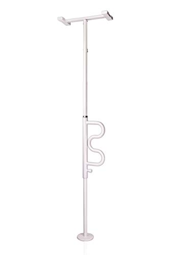 Stander Security Pole and Curve Grab Bar, Elderly Tension Mounted Floor to Ceiling Transfer Pole, Bathroom Safety Assist and Stability Rail, Iceberg White (Eligible for VAT Relief in The UK)