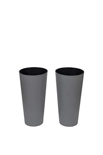 Kreher XXL/XL Pflanztopf der in moderner Beton Optik mit herausnehmbaren Einsatz. Aus robustem Kunststoff in Grau. Höhe 76 cm für XXL und 57 cm für XL (2, XL)