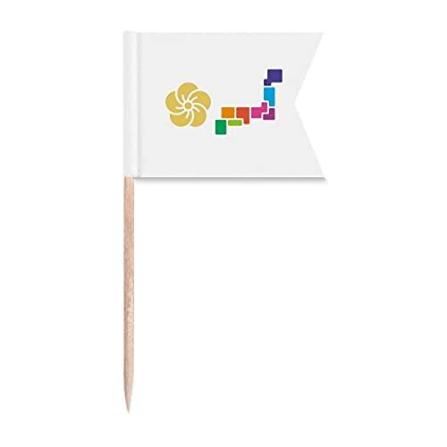 Japanische Nationalspiele, Tokio, Zahnstocher-Flaggen, Markierung für Party, Kuchen, Lebensmittel, Käseplatte