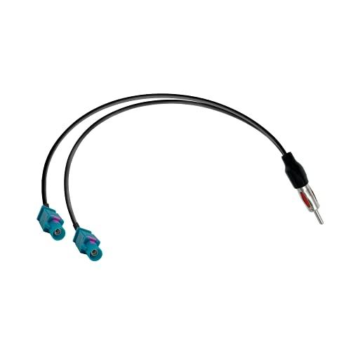 Vecys Adattatore Splitter DAB Spina DIN a Doppia Spina Fakra Z Cavo Sdoppiatore Antenna per Autoradio Spina Fakra Z a Spina DIN al Cavo RG174 15,35 pollici 39 cm per Antenna Autoradio AM/FM DAB