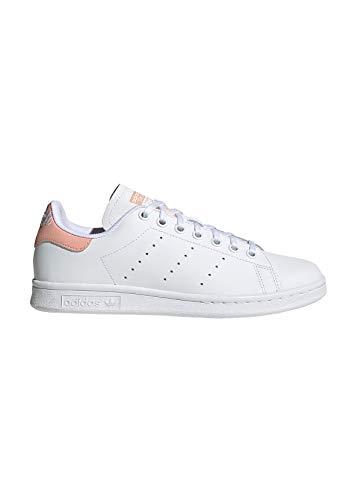 adidas Stan Smith J, Sneakers Basses Mixte Enfant, Multicolore (FTWR White/FTWR White/Glow Pink Ee7571), 38 EU