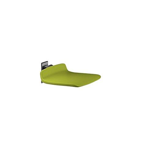 Pressalit R7408277 Dusch-Klappsitz 45 cm limonengrün, hoch-klappbar, gepolsterte Sitzfläche, Duschsitz für Senioren, behindertengerecht (Belastbarkeit 150 kg, fest-montiert)