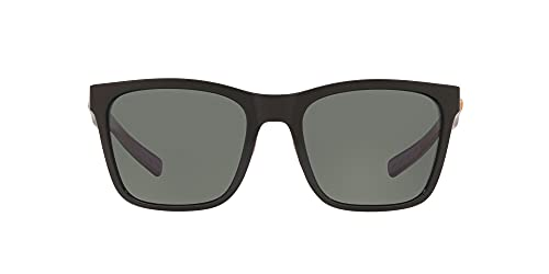 Costa Del Mar Women s Panga Square Sunglasses, Shiny Black Grey Polarized 580G, 56 mm
