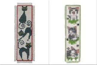 2 Item Cross Stitch Bookmark Kit Bundle : Cute Grey Cat and Black Cat