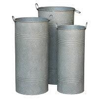 Klocke Zinkgefäße Zink Vase mit Griffen - 3er Set - Farbe: Natur - Ø 28cm/24cm/20cm - Höhe 55cm/50cm/45cm - Geeignet zum Bepflanzen & Dekorieren