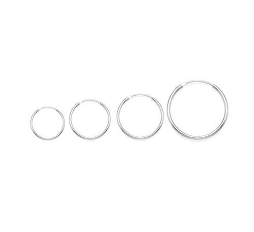 Sterling Silver SMALL Hoop Earrings: SET OF 4: 10mm, 12mm, 14mm & 18mm - Beware 10mm is TINY & FIDDLY to use. The biggest is only the size of a 5p piece6224SETSINGLES