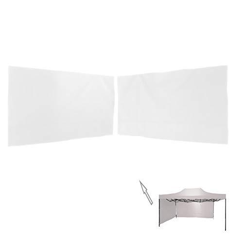 Rebecca Mobili 2 Pz Pareti per Tendone, Pannello Laterale Bianco, Poliestere, Lavabile per Gazebo 3x4,5 mt Fiere Giardino - Misure: 1,9x2,9 mt / 1,9x4,9 mt (HxL) - Art. RE6440