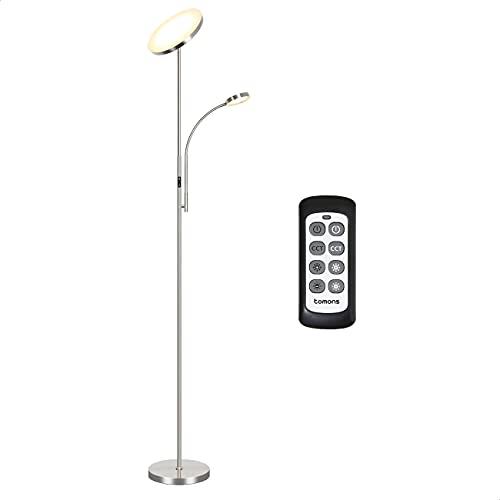 Tomons Stehlampe LED Dimmbar, Stehleuchte Stufenlos Dimmbar, Deckenfluter mit Verstellbare Leselampe Modern, 3 Farbtemperaturen, mit Fernbedienung, für Wohnzimmer Büro Schlafzimmer, 30W, Matt Nickel