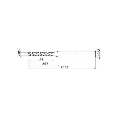 Mitsubishi Materials MZE01094SB Micro-MZE Series Solid Carbide Drill 2 Hole Depth 0.02 Point Length External Coolant 0.1094 Cutting Dia 0.125 Shank Dia.