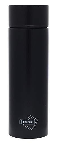 POKETLE ポケトル ボトル ステンレス製マグボトル ミニボトル スリムボトル 水筒 120mL (ブラック, ボトル単品)