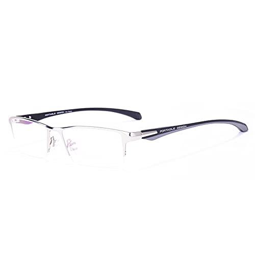 CAOXN Gafas De Lectura con Bloqueo Azul para Hombres, Lentes Antideslumbrantes para La Fatiga Ocular Y Gafas De Lectura De Media Montura De Titanio Puro Ultraligeras,Plata,+3.00