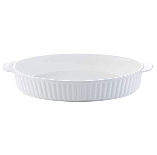 SMSOM Plato para hornear cazuela de cerámica plato para hornear conjunto 2 pcss conjuntos de cacahuidos para la lasaña Pan para hornear platos para hornear oval hornear pan para hornear, blanco 12 pul