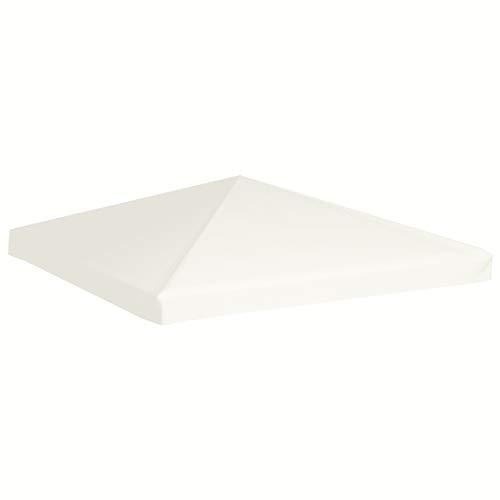 Wakects Cubierta para dosel, tela de poliéster, revestimiento de PVC, cubierta de techo con 16 ganchos, color crema, blanco, 3 x 3 m