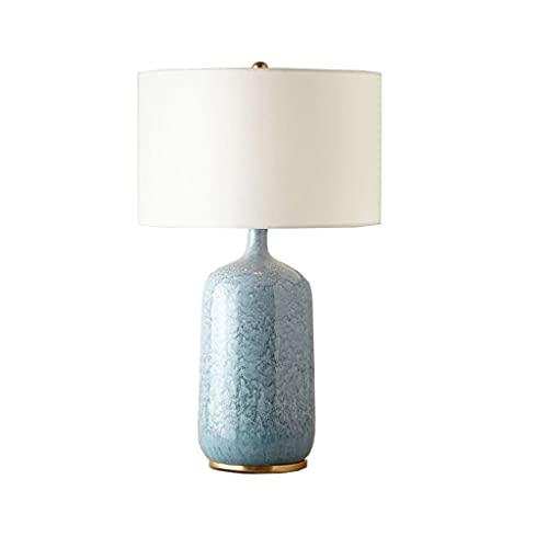 SMEJS Estilo europeo simple retro botella azul lámpara de mesa de cerámica dormitorio de cama de moda tela de moda lámpara de mesa