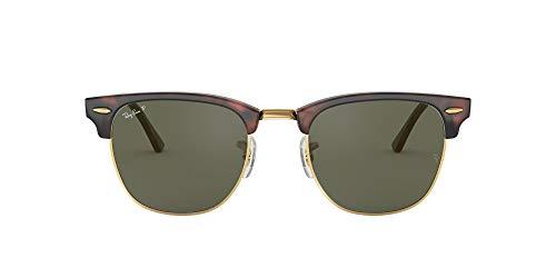 Ray-Ban RayBan Clubmaster Gafas de Sol, Marrón (Tortoise Frame With Gold Rim And Polarized G/15 Lenses), 55 Unisex Adulto