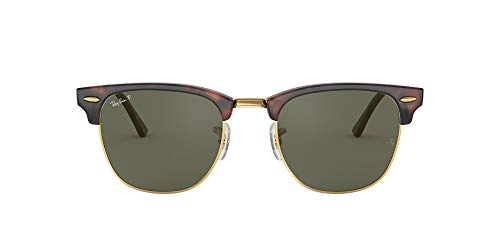 Ray-Ban RayBan Clubmaster Gafas de Sol, Marrón (Tortoise Frame With Gold Rim And Polarized G/15 Lenses), 55 Unisex Adulto
