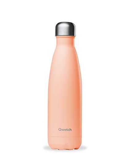 QWETCH – Isolierflasche Edelstahl 500 ml – Hält Ihre Getränke 12 Stunden warm und 24 Stunden kühl – BPA Free –Pastell Korallenrot