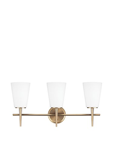Sea Gull Lighting Driscoll Three Light Wall / Bath Vanity Style Lights, Satin Bronze Finish