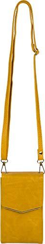 styleBREAKER Damen Mini Bag Umhängetasche, mit Metall Detail am Umschlag, Handytasche, Schultertasche, Handtasche 02012353, Farbe:Curry