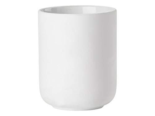 Zone Denmark Ume Zahnputzbecher/Zahnbürstenhalter für Zahnbürste und Zahnpasta, Steinzeug mit Soft Touch-Beschichtung, weiß