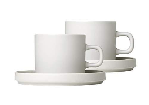 blomus -PILAR- Set 2 Kaffeetassen aus Steingut, Moonbeam, 200 ml Fassungsvermögen, schlichte Eleganz, spülmaschinengeeignet, hochwertige Verarbeitung (H / B / T: 7 x 8 x 11 cm, Moonbeam, 63907)