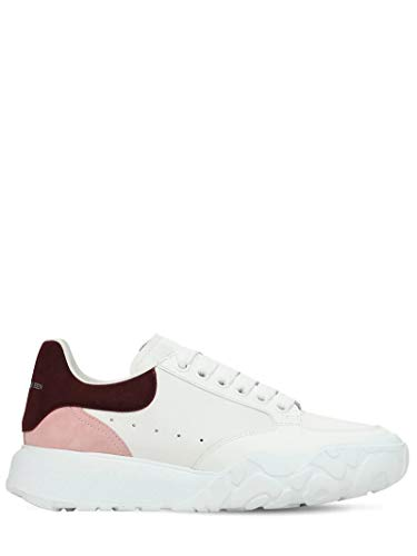 Alexander McQueen White/Pink Court Sneakers New/Authentic (38.5, Numeric_8_Point_5)