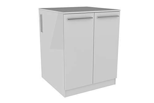 FACKELMANN Waschmaschinenschrank/Badschrank mit Lüftungsgitter/Maße (B x H x T): ca. 71 x 91 x 70 cm/hochwertiger Badezimmerschrank/Korpus: Weiß/Front: Weiß Hochglanz