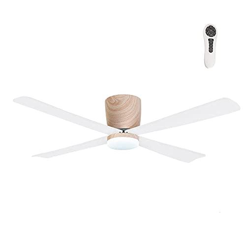 Wonderlamp - Ventilador de techo madera, con luz y mando Napur, Silencioso, 5 velocidades, Para techos bajos, Color Luz regulable