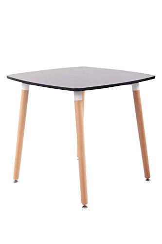 CLP Tavolo Quadrato da Cucina Viborg in Legno I Tavolino Pranzo Moderno Design in MDF E Legno di Faggio, Colore:Nero, Dimensione:80 cm