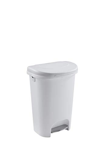 Rubbermaid Classic 13 Gallon Premium Step On Trash Can with Lid, White Waste Bin for Kitchen, Small
