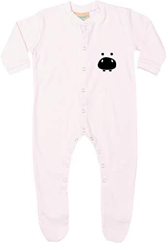 Kleckertegel baby pyjama rompler spreuken sleepsuit lange mouwen met voeten opdruk motief dieren rivier paard hippo nilpaard