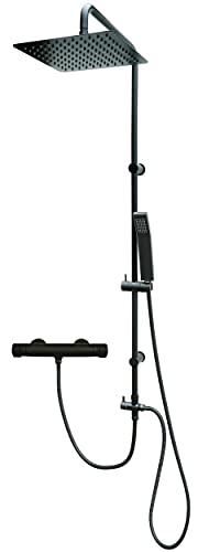 Set de ducha con termostato, color negro mate, ducha de lluvia y soporte de pared ajustable