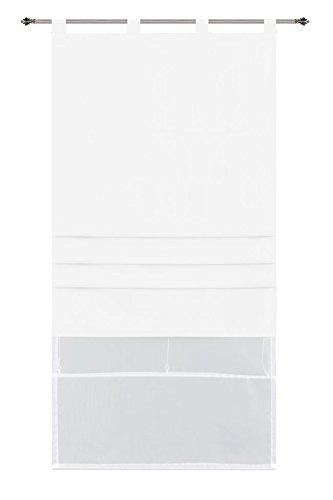 Doppel Raffrollo Palma Microsatin matt Voile, 60 x 175 (BxH), Weiss Faltgardinen Faltrollo Schlaufenrollo mit Universalgardinenband, 20410